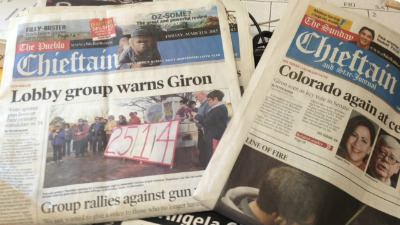 Recent front pages of the Pueblo Chieftain featuring Sen. Angela Giron. Via FOX31