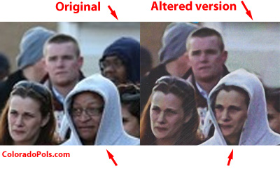 Close-up showing second African-American face removed from original photo.