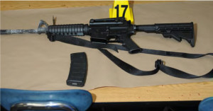 Magpul PMAG and Bushmaster AR-15 rifle used at the Sandy Hook Elementary school shooting.