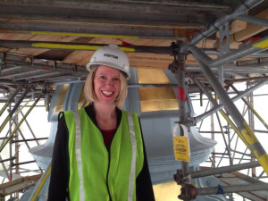 Colorado Senate Democrats chief of staff Kjersten Forseth at the top of the Colorado Capitol's refurbished gold dome.
