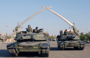 American tanks in Baghdad, 2003.
