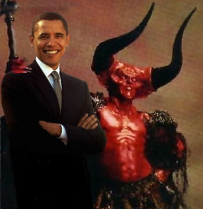President Barack Obama, with close ally Satan (right).