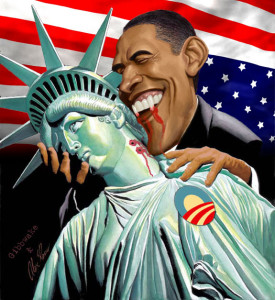 Obama and Lady Liberty.