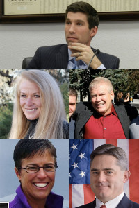 From top: Sens. Owen Hill, Vicki Marble, Tim Neville, Laura Woods, Chris Holbert.