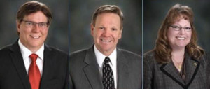 Embattled Jeffco school board members Ken Witt, John Newkirk, Julie Williams (WNW).