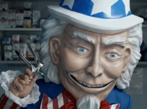 Creepy Uncle Sam holding a speculum.