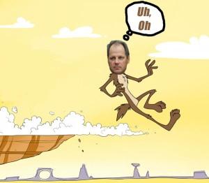 Senate President Bill Cadman leads Republicans off a cliff once again.