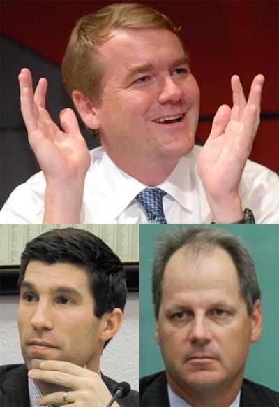 (clockwise from top): U.S. Sen. Michael Bennet, State Sen. Bill Cadman, State Sen. Owen Hill