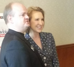 "Carly Fiorina (right), with Rep. Gordon ""Dr. Chaps"" Klingenschmitt. Picture taken long before Fiorina was a pointless VP choice."
