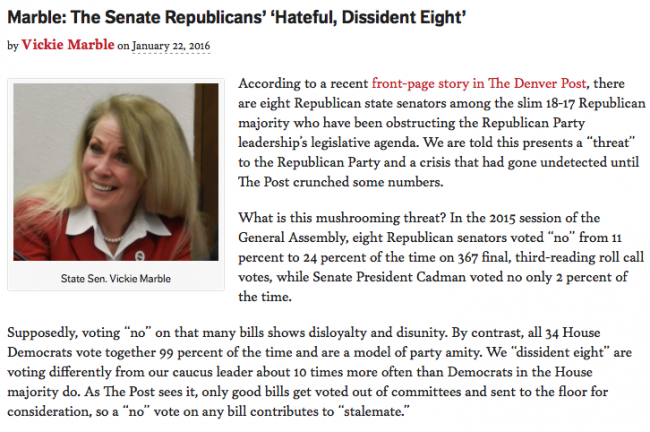 Screen shot of opening paragraphs of Sen. Vicki Marble's op-ed in the Colorado Statesman
