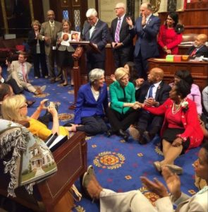 "Democrats in the House during their ""sit-in"" demanding votes on gun violence legislation."
