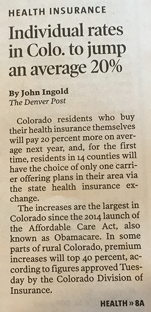 Nothing but Obamascare on the Denver Post's front page today.