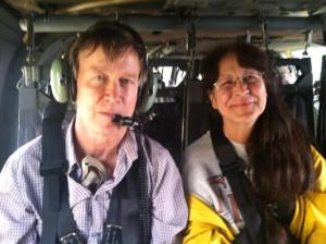 Gov. John Hickenlooper and rescued Estes Park resident.