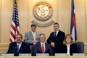 Weld County commissioners. Note Colorado flag to right.