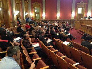 Empty seats in Colorado House gun bill hearing yesterday.