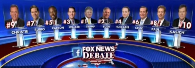 "The ""Top 10"" GOP Presidential candidates, as determined by Fox News."