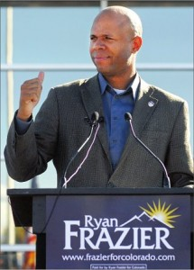 Ryan Frazier has the early lead among people who still answer landline telephones, according to Ryan Frazier.