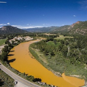 Animas River fouled by minewater spill near Silverton.