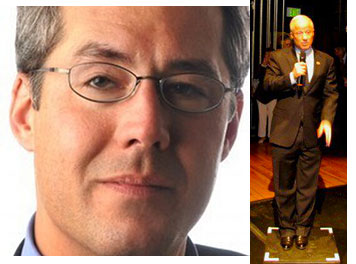 Chuck Plunkett looks for a spot on Mike Coffman's soapbox