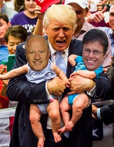 Mike Coffman, Donald Trump, Laura Woods (not actual size)